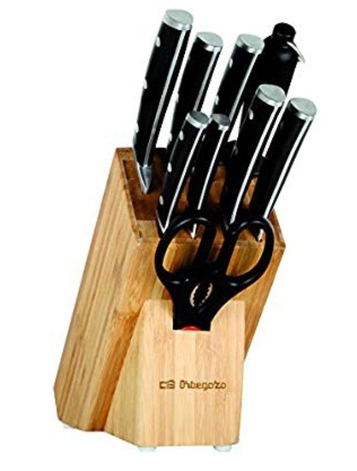 Cuchillos Orbegozo, con taco de madera 9 piezas