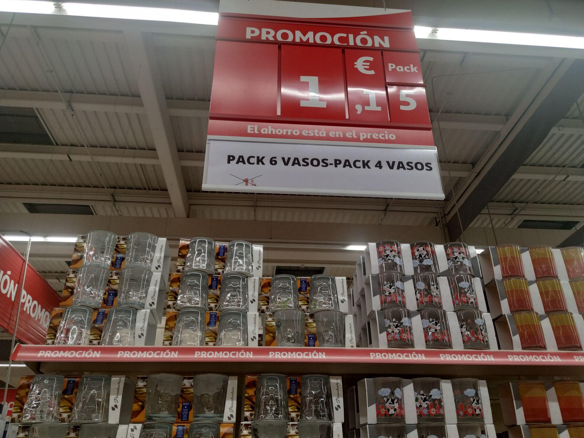 Pack 6 vasos o pack 4 vasos (distintos modelos, Alcampo Toledo)