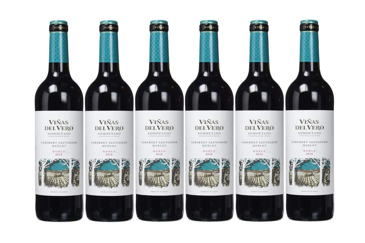 Viñas Del Vero Tinto Cabernet-Merlot - Vino D.O. Somontano - 6 Paquetes de 750 ml - Total: 4500 ml
