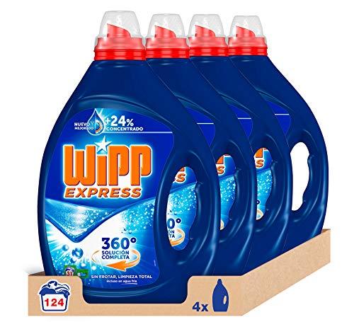Detergente líquido Wipp Express [Pack de 4, Total: 124 Lavados (6.2 L)]