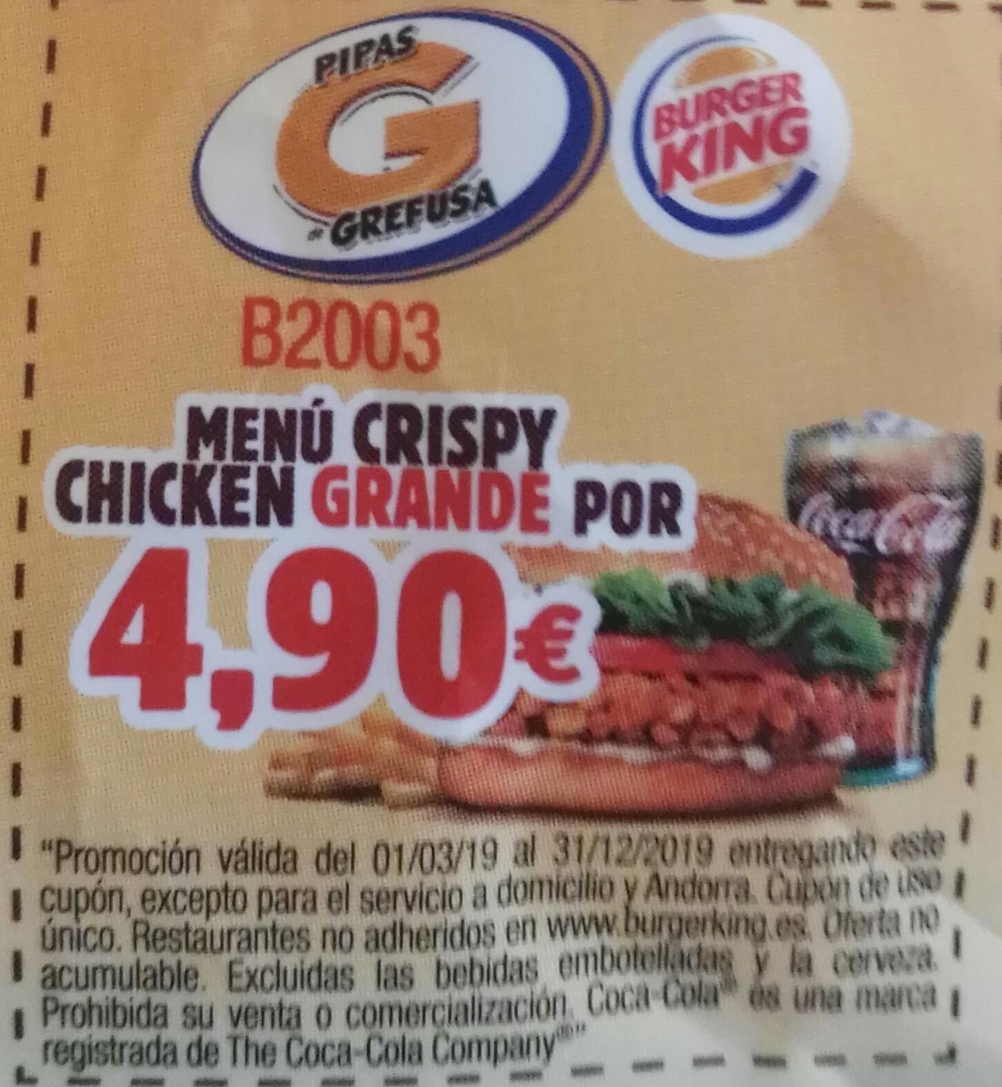 [BK] Menú Crispy Chicken GRANDE (Código On-line O En restaurante)