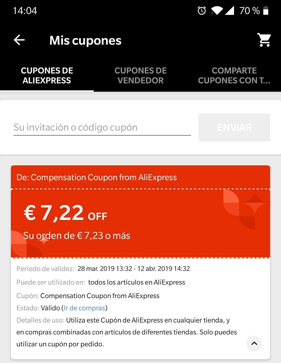 Cupon de 7,22€ por compras superiores a 7,23€ (compensación por el fallo de PayPal)