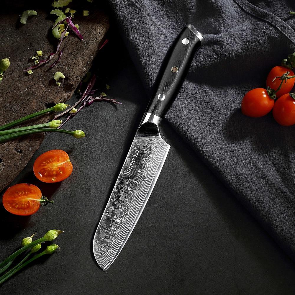 Cuchillo Santoku tradicional japonés en acero Damasco