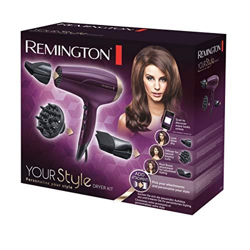 Remington D5219 Your Style - Kit secador con tecnología iónica, hasta 85 km/h, difusor, concentrador