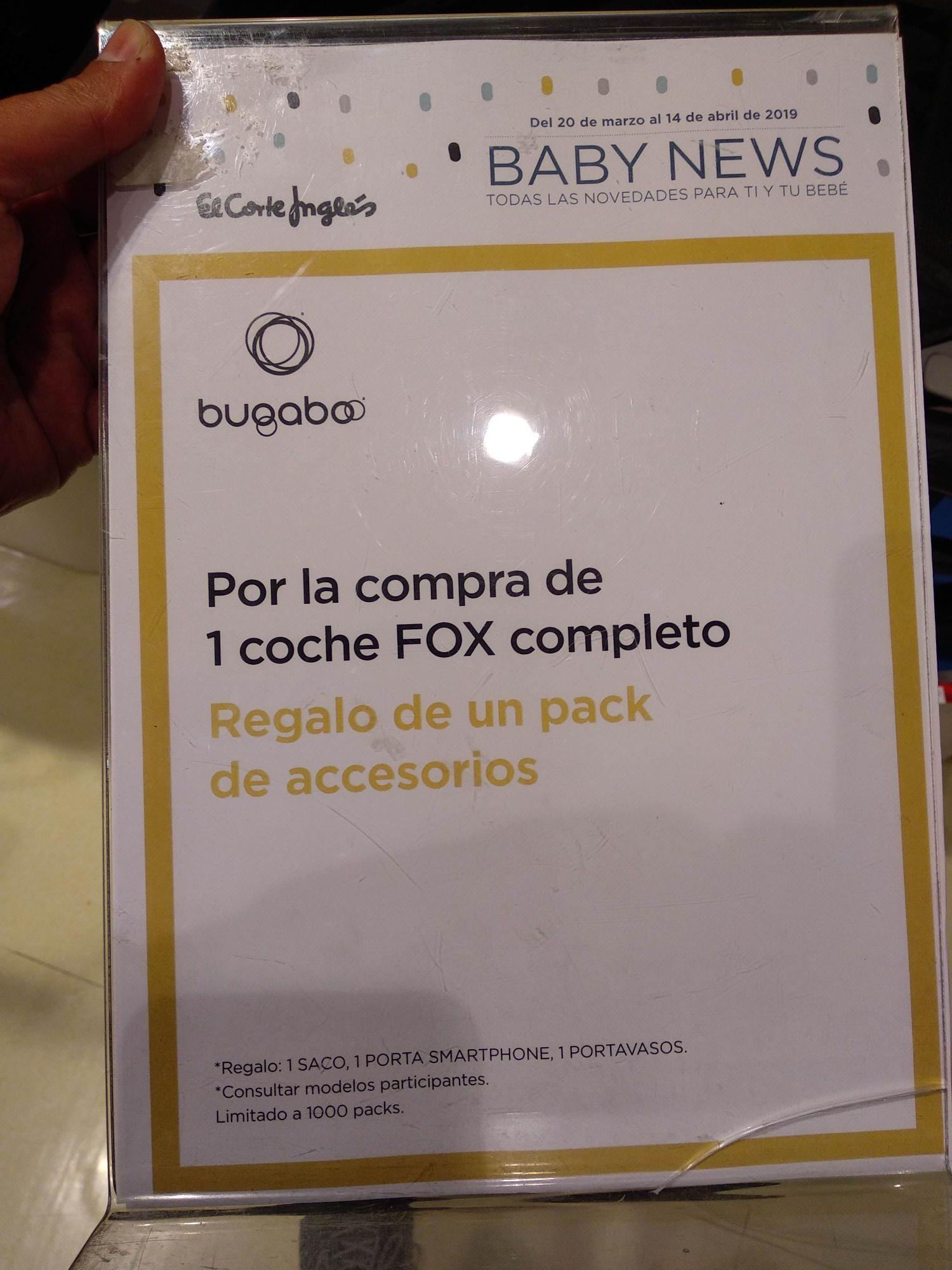 Accesorios de Bugaboo (saco, soporte botella y móvil) al comprar un Bugaboo Fox