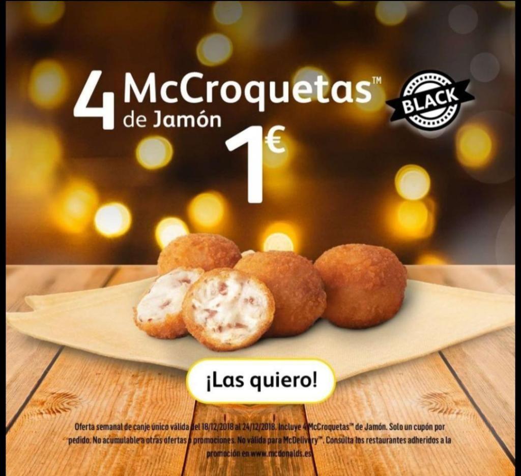 Oferta black McDonald's - 4MCcroquetas de jamón por solo 1€