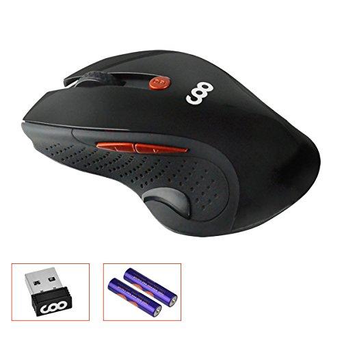 Ratón inalámbrico,COO 2.4 GHz Ratón inalámbrico óptico,6 Botones ,Nano receptor (Negro)