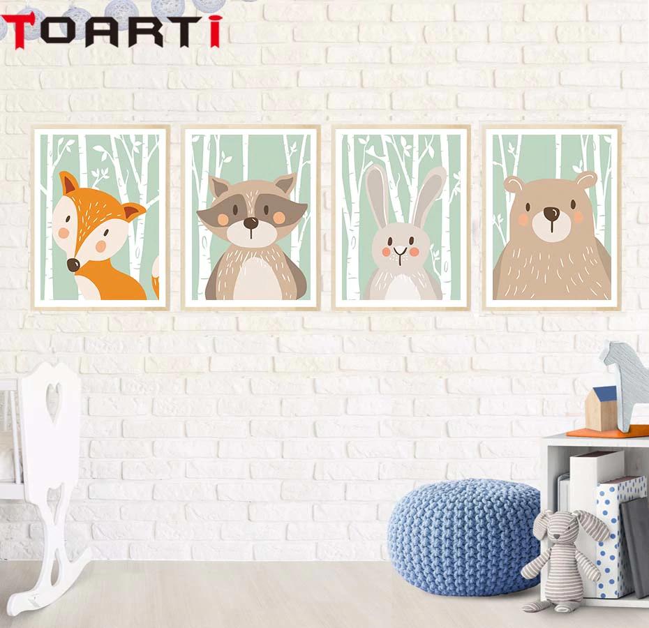 Impresiones de dibujos de animales para decorar (Marco no incluido)