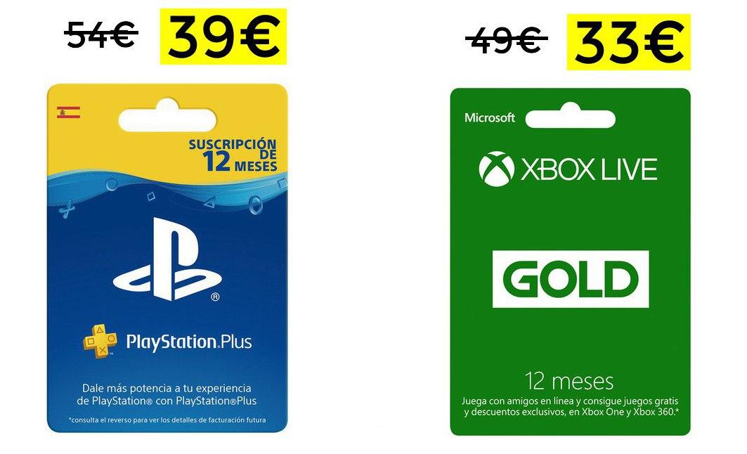 PSN 12 meses 39€ // Xbox Live Gold 12 meses solo 33€