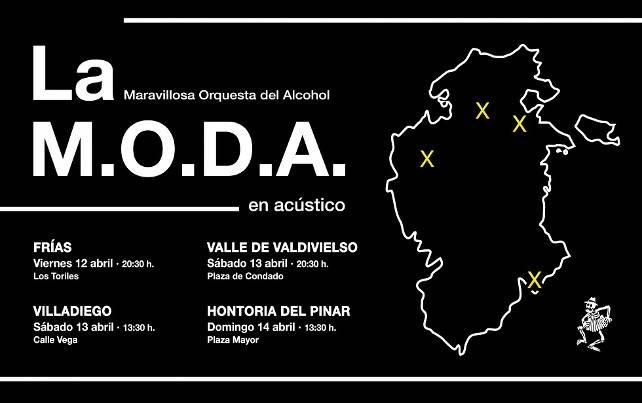 La M.O.D.A. (12-14 Abril): Concierto gratis en 4 localidades burgalesas para apoyar la cultura en el mundo rural