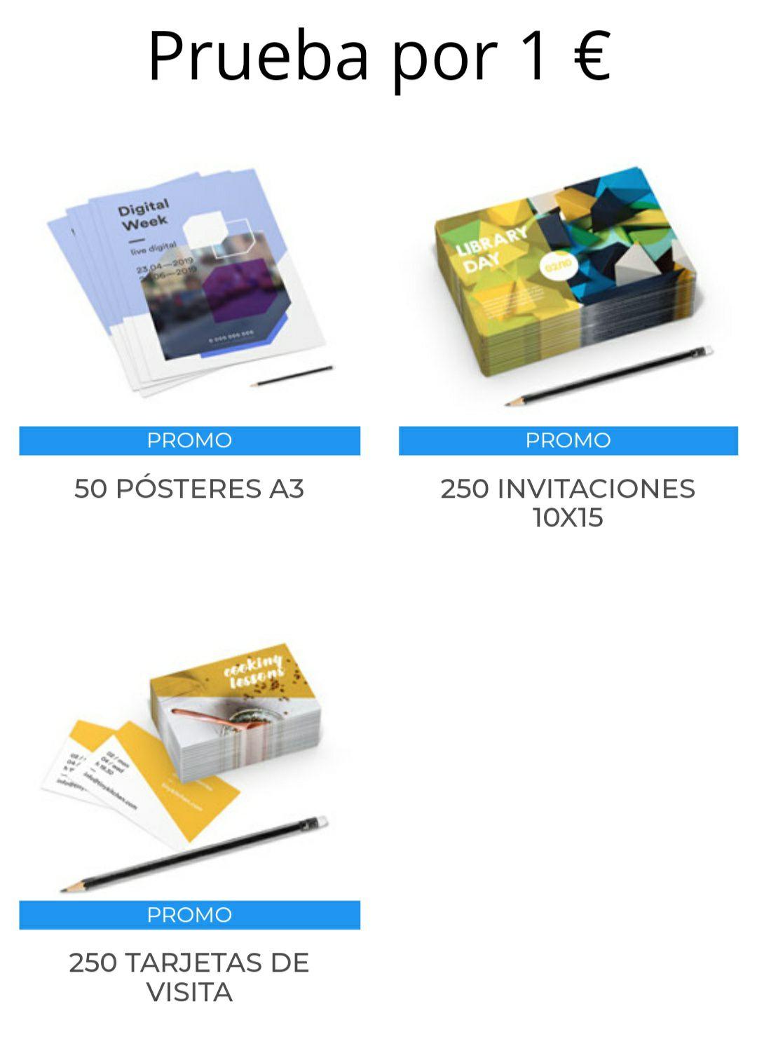 250 Tarjetas de visita, 50 posters A3 o 250 invitaciones por solo 1€