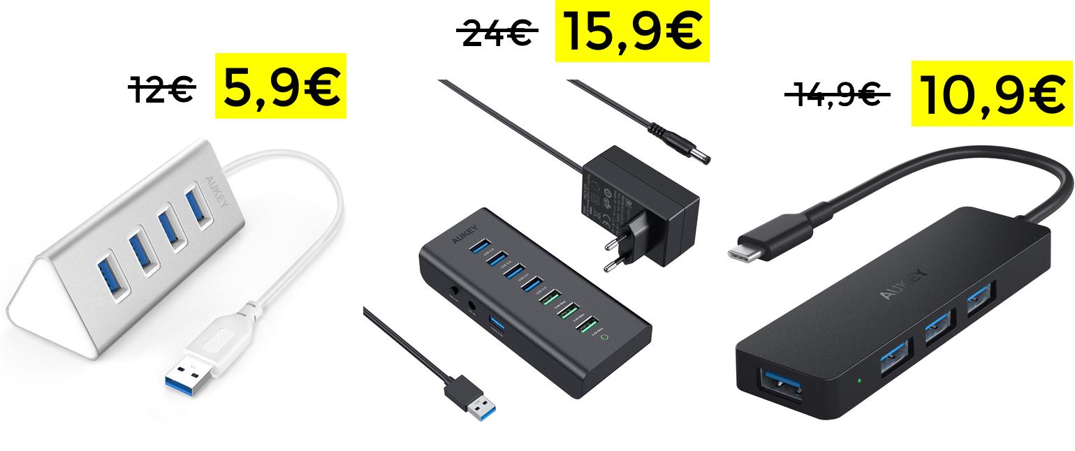 AUKEY Hub USB 3.0 4 Puertos 5,9€