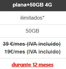 Tarifa móvil 50Gb por 19€