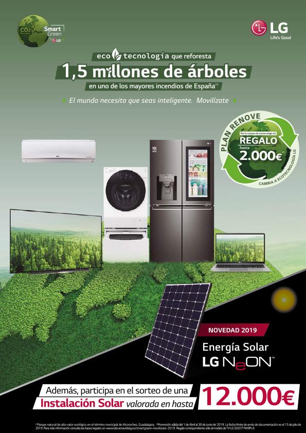 Reembolso de hasta 2000€ en LG Smart Green y sorteo de instalación solar