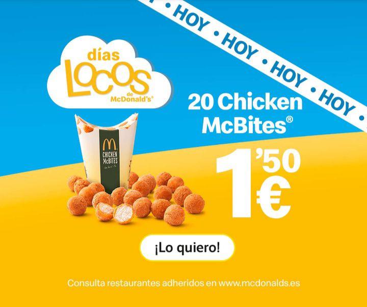 20 Chicken McBites a 1,50!! Solo hoy!! (Jueves 11 arbril)