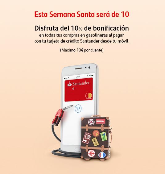 10% dto. Gasolina con Tarjetas Santander