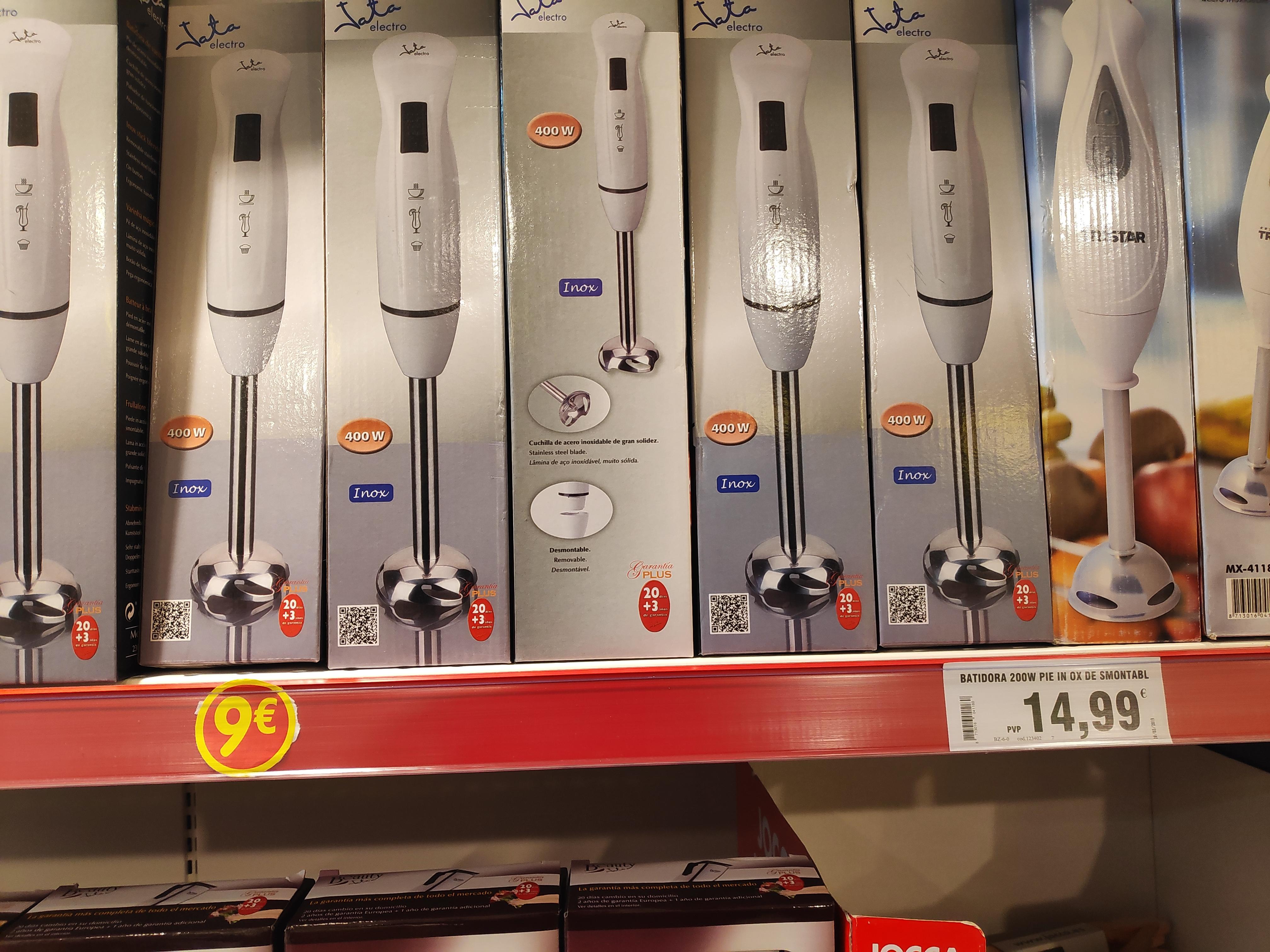 Batidora Jata 400w 9€ y foco LED para exterior 7€