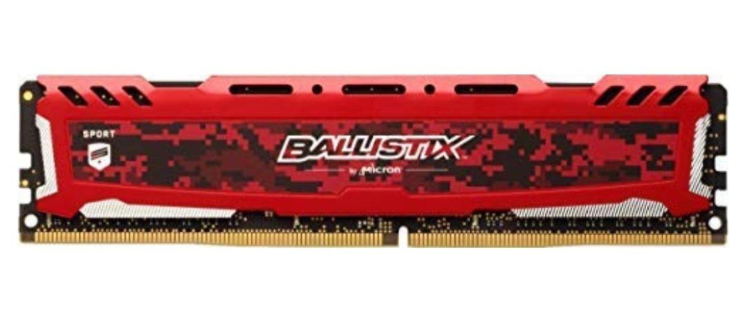 Ballistix Sport LT BLS16G4D32AESE - Memoria RAM de 16 GB, 3200 MT/s, PC4-25600, CL16, Dual Rank x8, DIMM, 288-Pin, Rojo