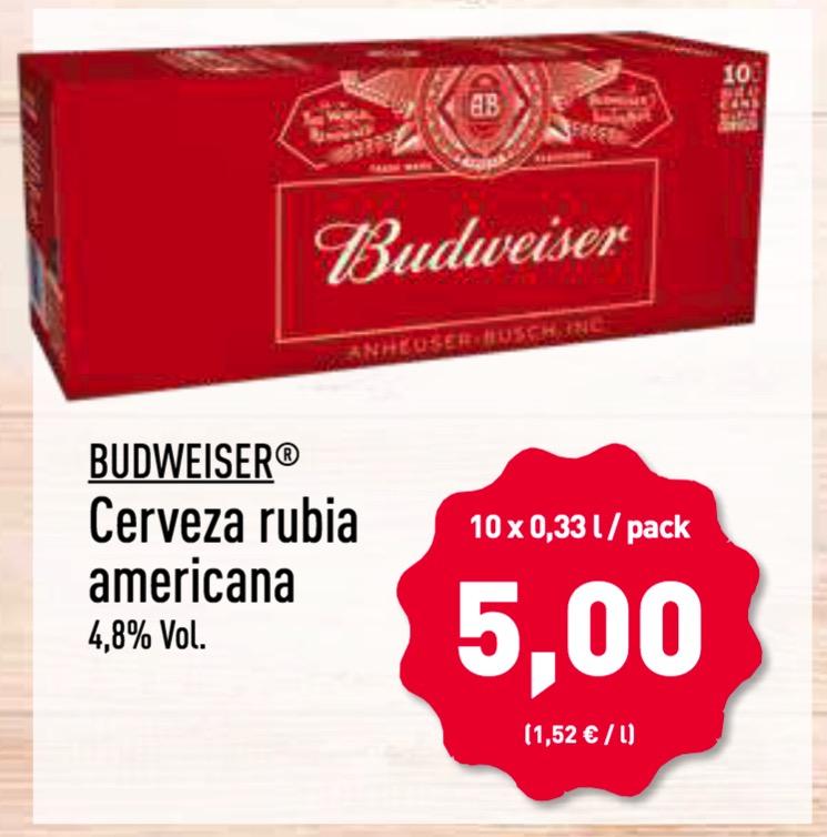 Pack 10 latas cerveza BUDWEISER en Aldi