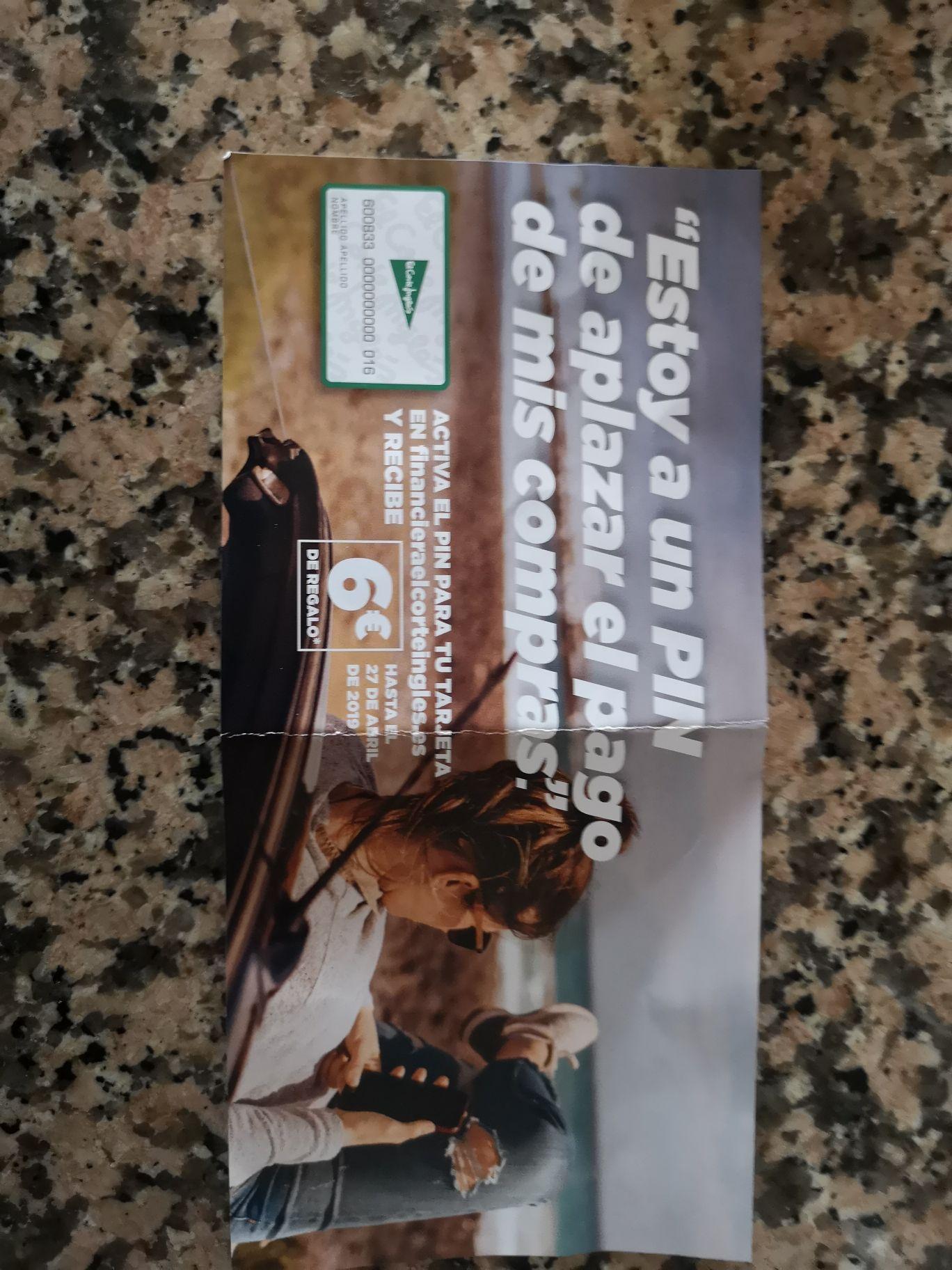 6€ de descuento en el corte inglés al activar el pin de tu tarjeta