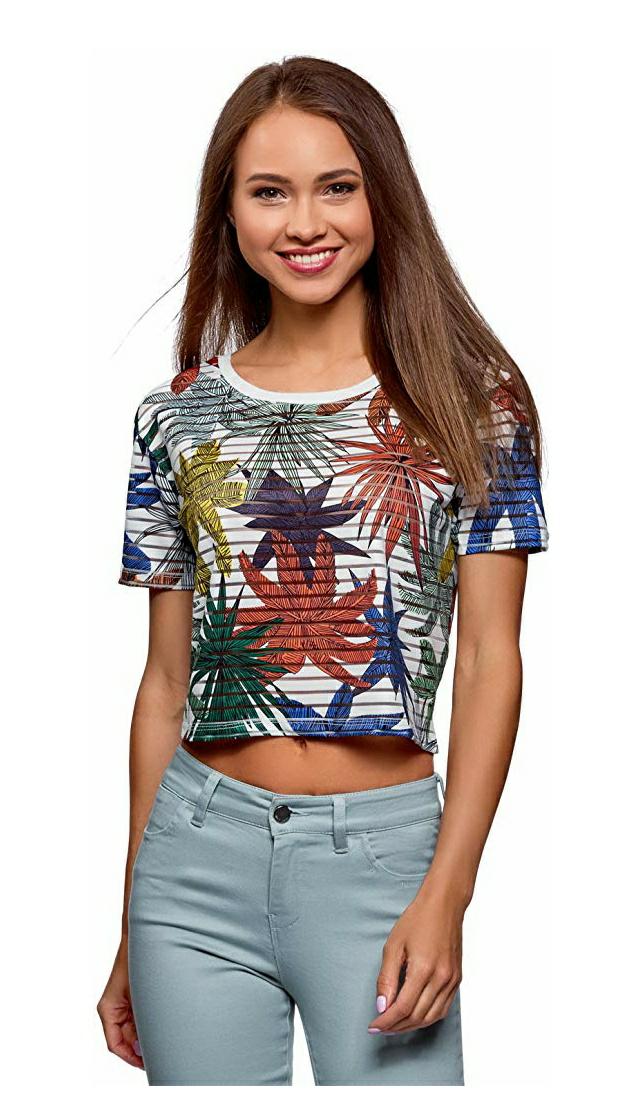 Camiseta mujer recortada S