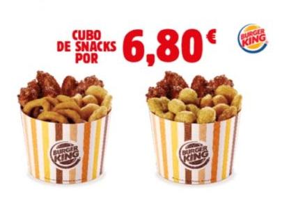 Cubo de 18 snacks en Burger King por 6,80€