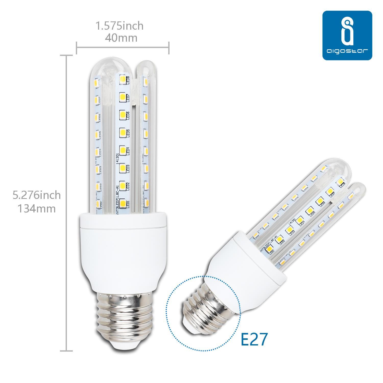 Aigostar - Pack de 10 Bombillas LED B5 T3 3U, 9W, casquillo gordo E27, luz calida 3000K [Clase de eficiencia energética A+]