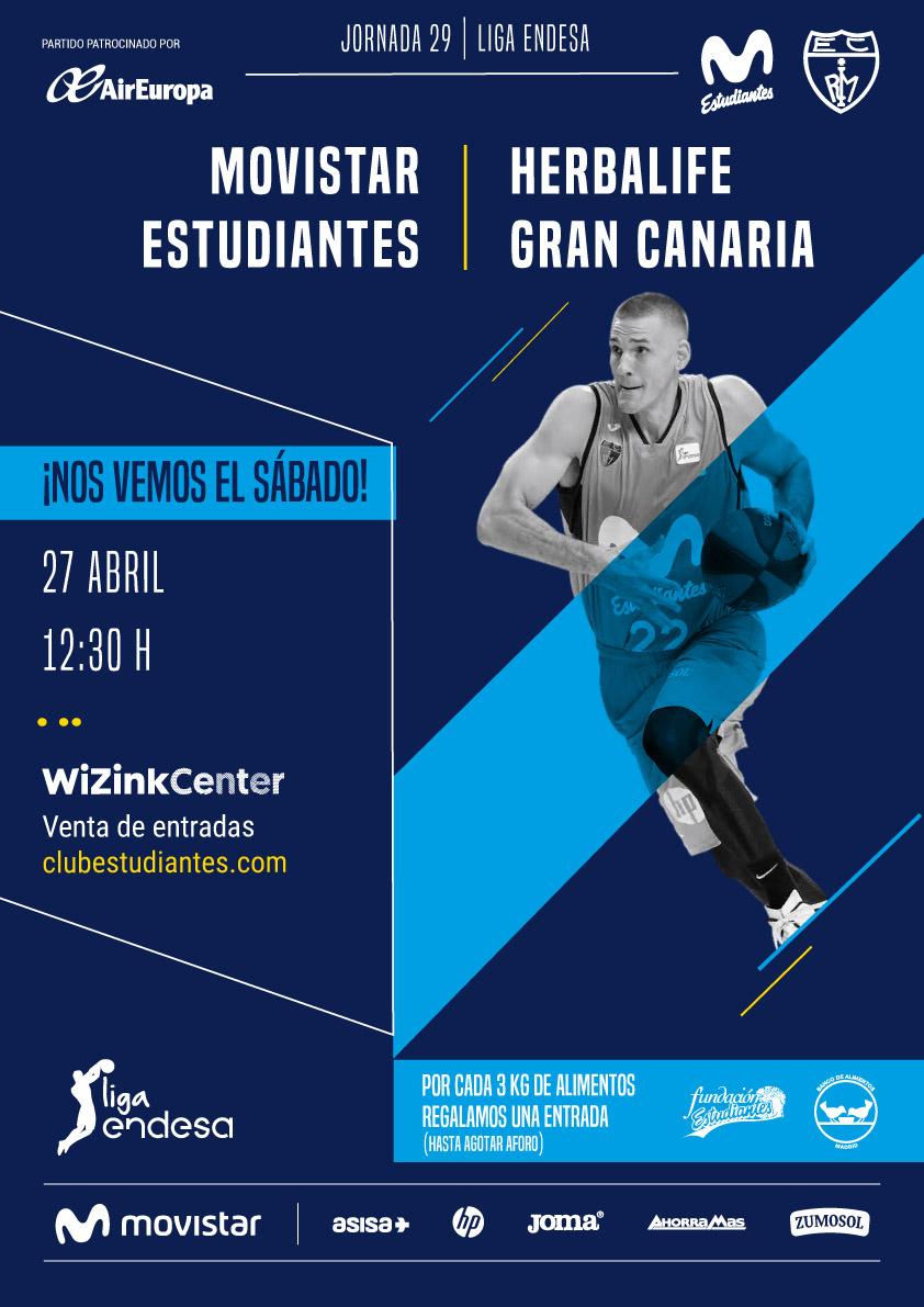 Entrada Gratis Liga ACB  Estudiantes-Gran Canaria donando 3 Kg de Alimentos