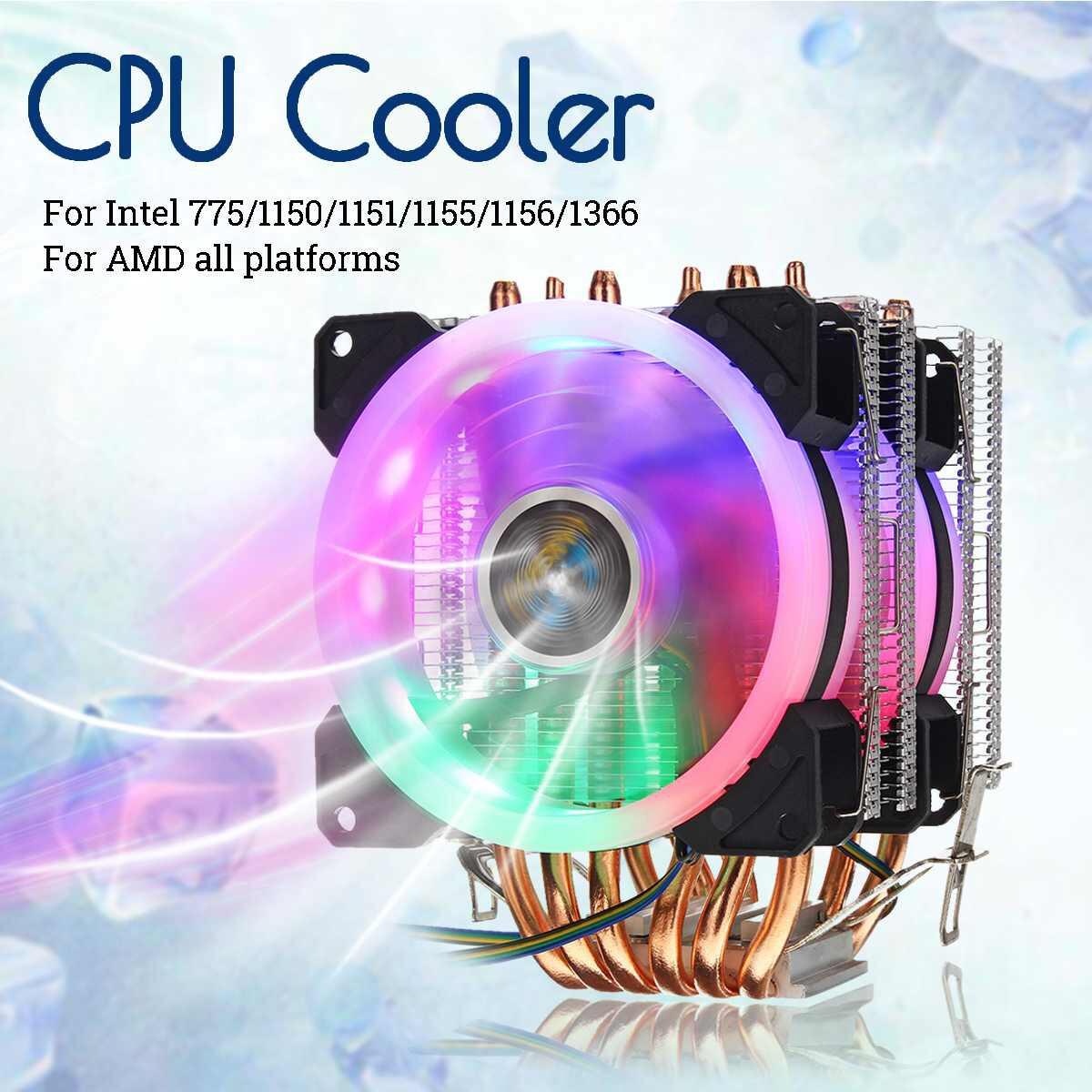 Disipador ventilador para CPU led con 2 ventiladores y 6 tubos de refrigeración