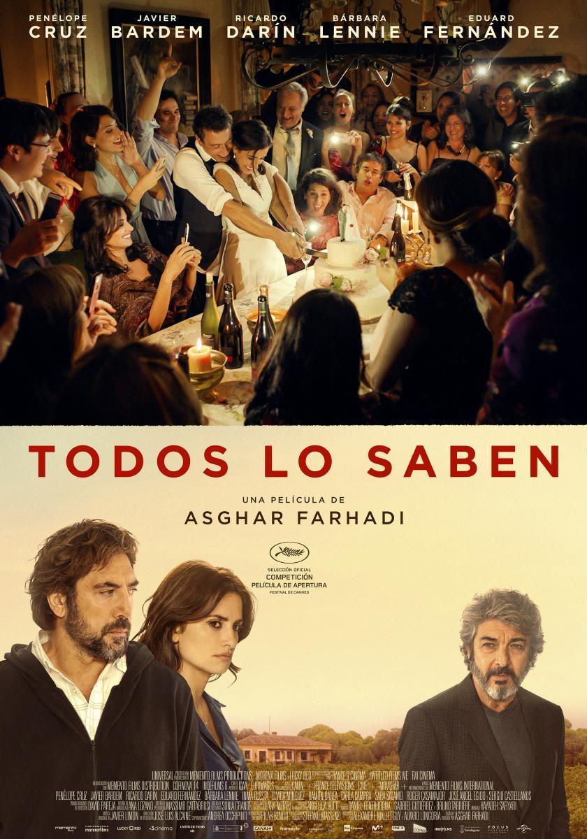 """SEVILLA (MARTES DE CINE GRATIS): 23 de abril """"Todos lo Saben"""" con Javier Bardem, Penélope Cruz y Ricardo Darín"""