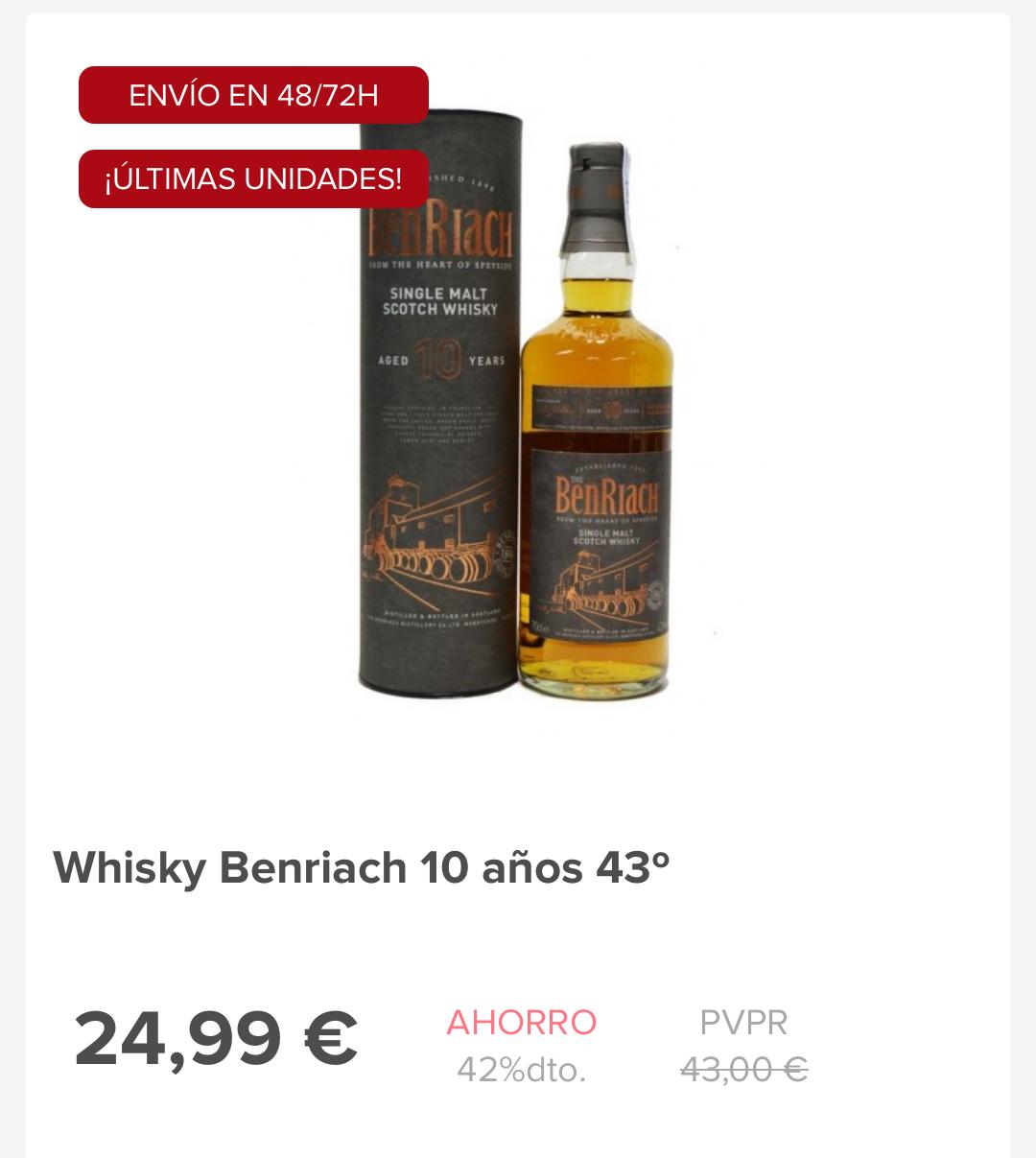 Benriach 10 años. Single Malt Scotch Whisky. Con el cupón JUERNES no pagas gastos de envío
