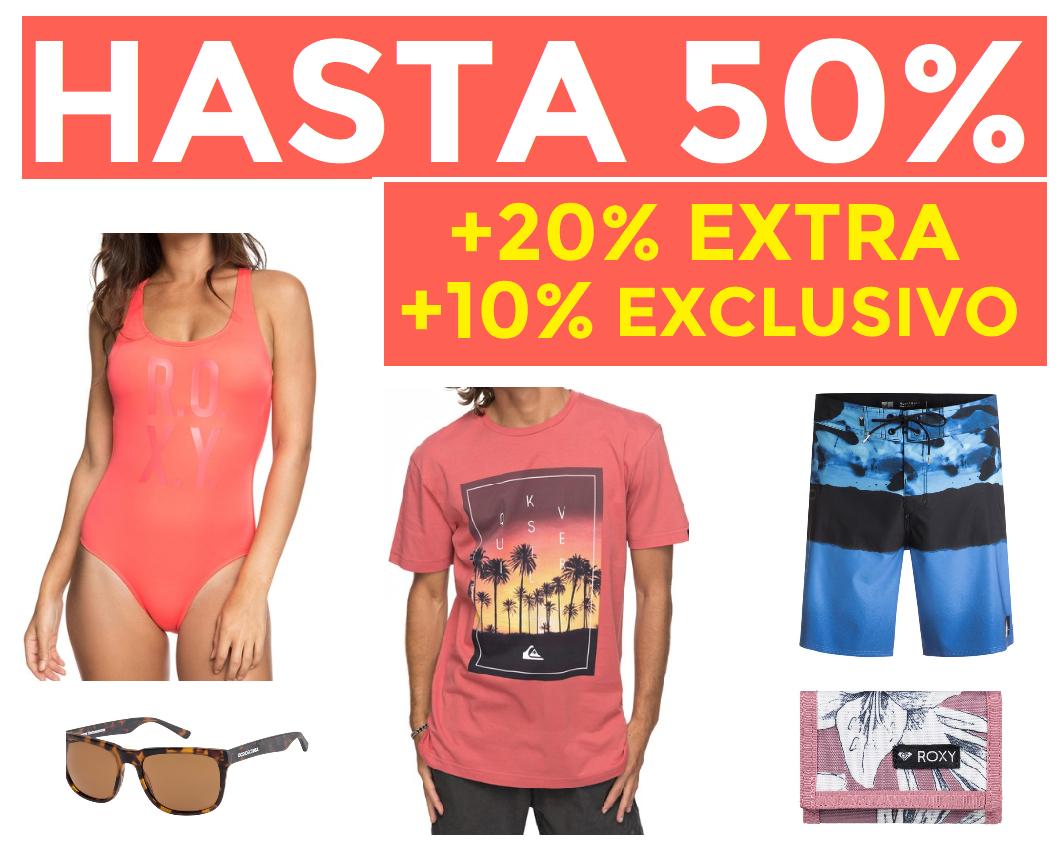 Hasta 50% + 20% EXTRA + 10% Exclusivo Quiksilver, Roxy y DC