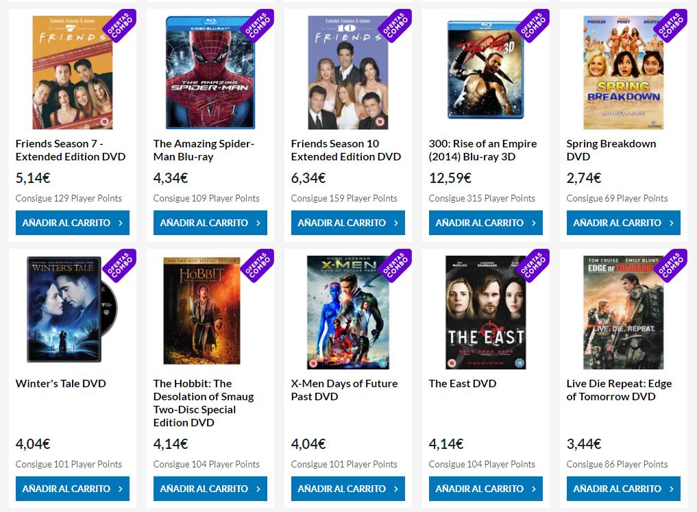 Llevate 5 Blu-rays y DVD por 8€