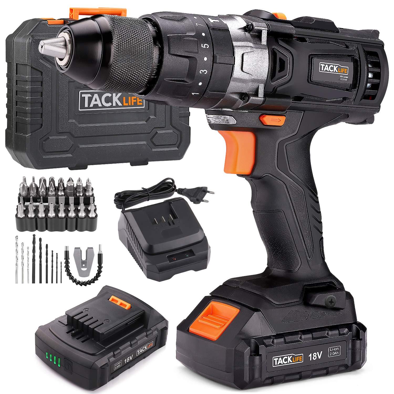 Tacklife - Taladro Atornillador 18 V con 2 baterías y extras
