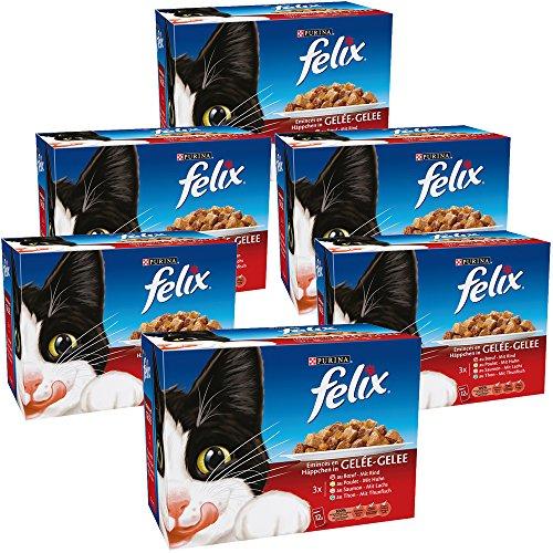 Pack 6 cajas de 12 paquetes (100 grs.) Purina Felix en gelatina
