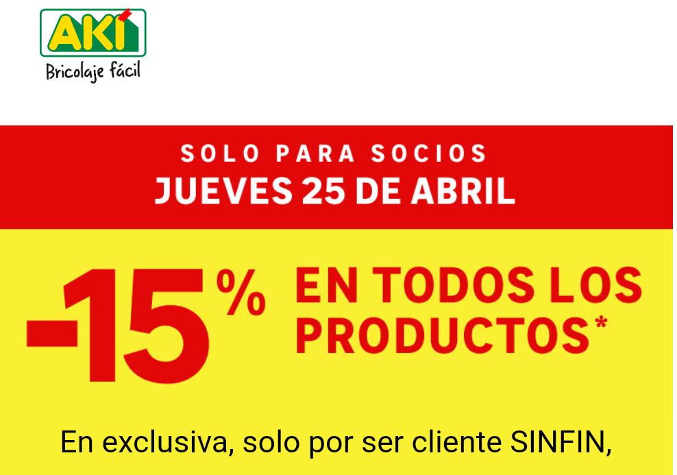 Bricolaje AKI - 25 Abril - 15% descuento para Socios