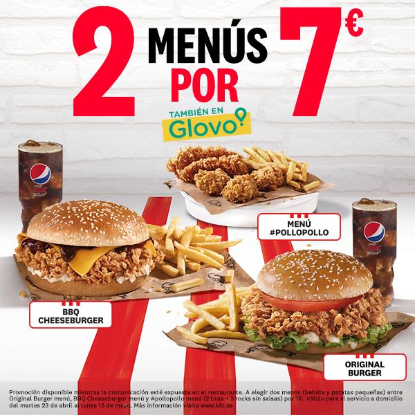 2 menús de pollo por 7€ en KFC (también en Glovo)