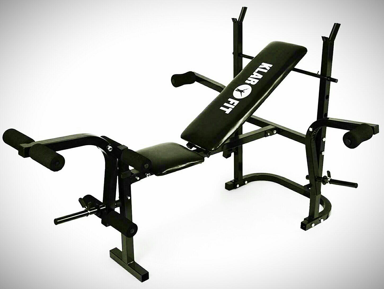 Baja-tripa 2. Klarfit Workout Hero Banco de musculación con soporte de pesas, curl de brazos y piernas 160kg negro
