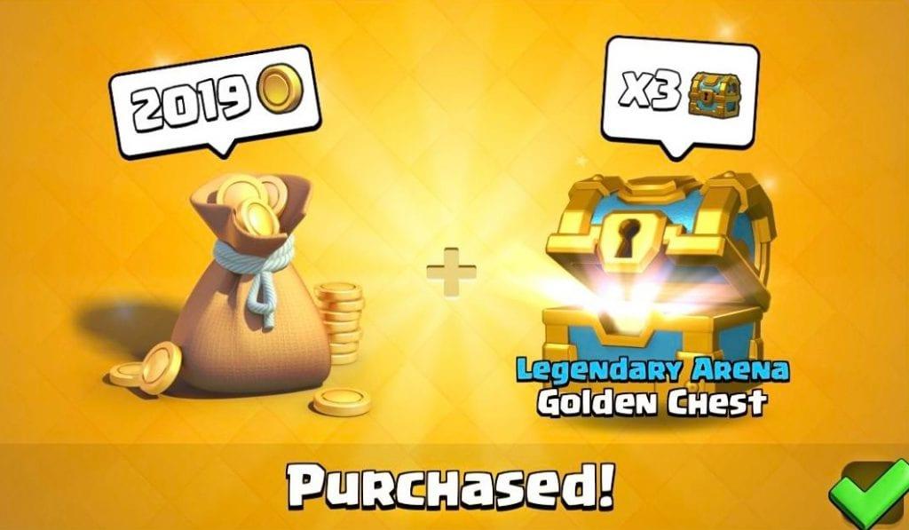 Clash Royales, gratis 2019 monedas de oro y 3 cofres de oro
