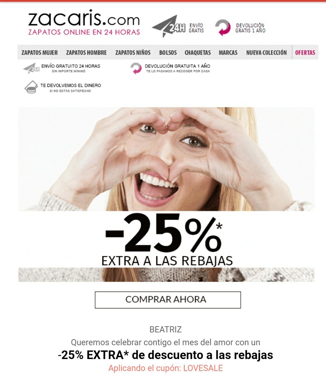 25% Extra a lo rebajado en Zacaris