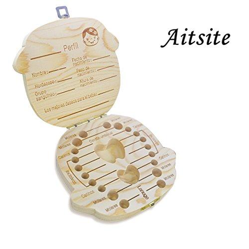 Caja de madera para guardar los dientes de tu bebé