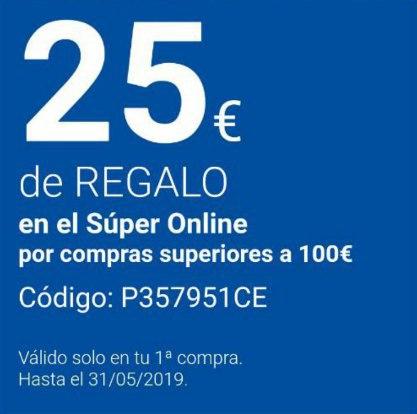 Código 25 euros carrefour por compras superiores a 100€