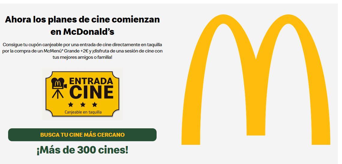 Con tu McMenú GRANDE entrada de cine por 2€