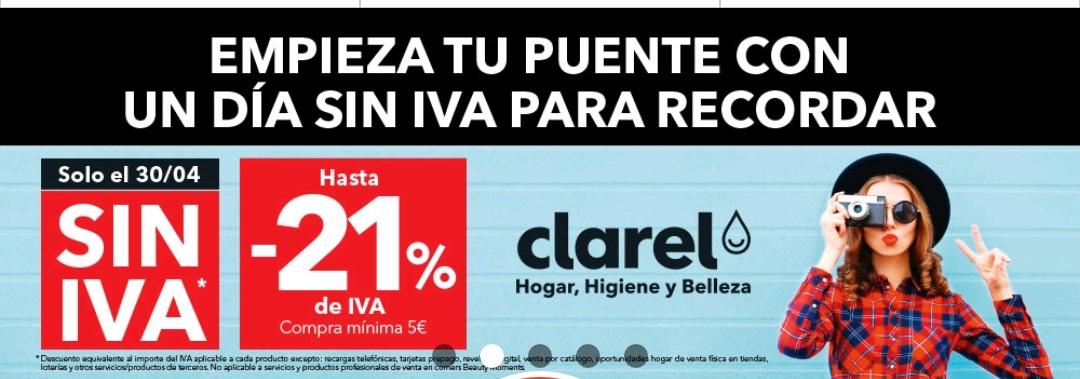 Día sin IVA en Clarel en compras superiores a 5 euros.