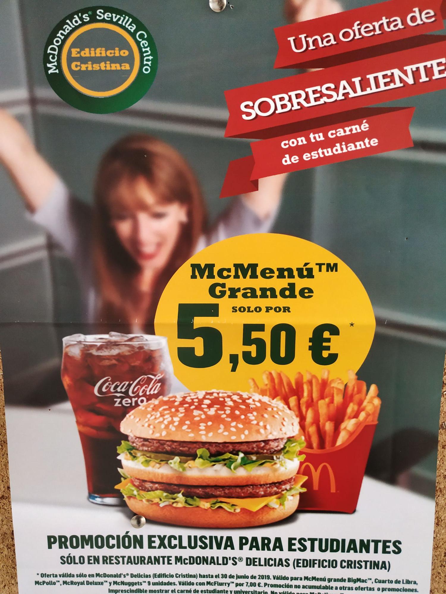 McMenú grande 5.50€ para estudiantes en Sevilla