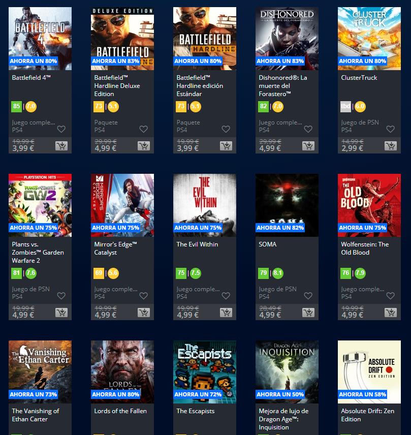 Juegos PS4 por menos de 5 €