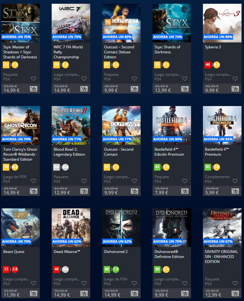 Juegos PS4 por menos de 15€ (Playstation Store)