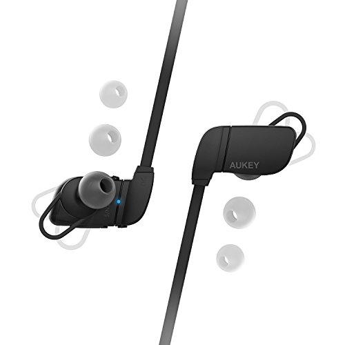 Aukey EP-B27 - Auriculares deportivo, con Bluetooth 4.1 y micrófono para correr color negro