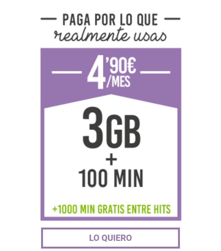 Hablar y Navegar 3GB + 100Min Hits Mobile