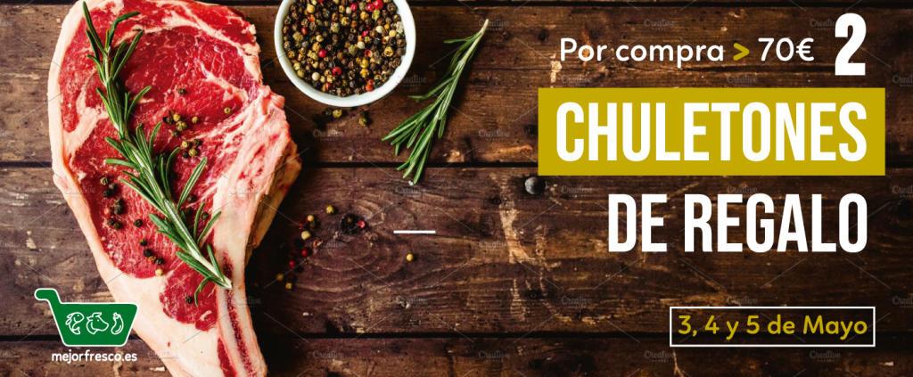 2x Chuletones de 500gr cada uno + ENVIO GRATIS por 70€ de compra (Solo Comunidad de Madrid)